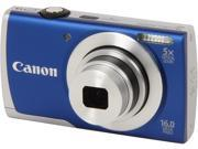Canon PowerShot A2600 Blue 16.0 MP 5X Optical Zoom 28mm Wide Angle Digital Camera
