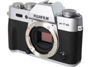 "FUJIFILM X-T10 16470439 Silver 16.3 MP 3.0"" 920K LCD Mirrorless Interchangeable Lens Camera - Body"