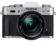 "FUJIFILM X-T10 16471380 Silver 16.3 MP 3.0"" 920K LCD Mirrorless Interchangeable Lens Camera with XC16-50mmF3.5-5.6 OIS II Lens"