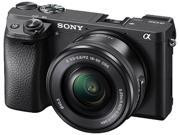 "SONY Alpha a6300 ILCE-6300L Black 24.2 MP 2.95"" 921.6K LCD Digital SLR Camera with 16-50 mm Power Zoom Lens"