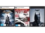 Batman Triple Pack (Arkham Asylum GOTY + Arkham City GOTY + Origins) [Online Game Codes] N82E16832777098