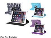 Insten 3-pack of Folio 360-degree Swivel Leather Cases for iPad Air 2 - Black/White Polka Dot , Blue/White Polka Dot ,Purple/White Polka Dot 2014007