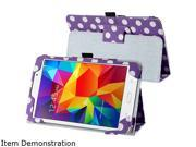 Insten 1901964 Folio Stand Leather Case for Samsung Galaxy Tab 4 7.0 T230, Purple/White Dot