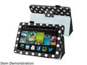 Insten 1901478 Folio Stand Leather Case for Amazon Kindle Fire HD 7-inch 2013 edition, Black/ White Dot