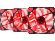 APEVIA AF312L-SRD 120mm Red LED Ultra Silent Case Fan w/ 15 LEDs & Anti-Vibration Rubber Pads (3-pk)