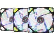 APEVIA AF312L-S4C 120mm Multicolor LED Ultra Silent Case Fan w/ 15 LEDs & Anti-Vibration Rubber Pads (3-pk)