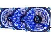 APEVIA 312L-DBL Blue LED 4pin+3pin Case Fan w/15x Anti-Vibration Rubber Pads (3 in 1 pack) - Retail