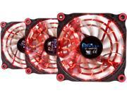APEVIA 312L-DRD Red LED 4pin+3pin Case Fan w/15x Anti-Vibration Rubber Pads (3 in 1 pack) - Retail