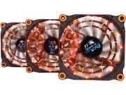 APEVIA 312L-DOG Orange LED 4pin+3pin Case Fan w/15x Anti-Vibration Rubber Pads (3 in 1 pack) - Retail