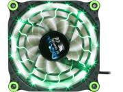 Image of APEVIA 12L-DGN Green LED 4pin+3pin Case Fan w/ 15x lights & Anti-Vibration Rubber Pads-Retail