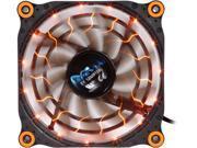 APEVIA 12L-DOG Orange LED 4pin+3pin Case Fan w/ 15x Anti-Vibration Rubber Pads-Retail