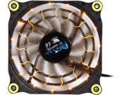 Image of APEVIA 12L-DYL Yellow LED 4pin+3pin Case Fan w/ 15x Anti-Vibration Rubber Pads-Retail