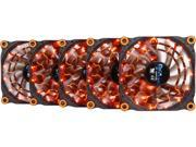 APEVIA 512L-DOG Orange LED 4pin+3pin Case Fan w/15x Anti-Vibration Rubber Pads (5 in 1 pack) - Retail