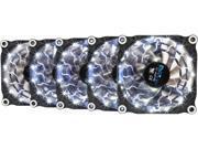 APEVIA 512L-DWH White LED 4pin+3pin Case Fan w/15x Anti-Vibration Rubber Pads (5 in 1 pack) - Retail