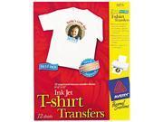 Avery 3275 Light Fabric Transfers for Inkjet Printers 8 1 2 x 11 White 12 Pack