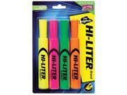 HI-LITER 24063 Desk Style Highlighter, Chisel Tip, Fluorescent Yellow/Orange/Green/Pink, 4/Set