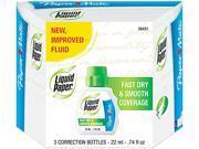Paper Mate Liquid Paper 5643115 Fast Dry Correction Fluid 22 ml Bottle White 3 Pack