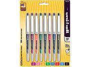 uni-ball 1734916 Vision Needle Roller Ball Stick Liquid Pen, Assorted Ink, Fine, 8 per Pack