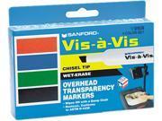 EXPO 1574 Vis-à-Vis Wet-Erase Overhead Projection Marker, Chisel Point, Assorted, 4/Set