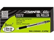 Zebra 14410 Jimnie Roller Ball Stick Gel Pen, Black Ink, Medium, 24 per Pack