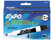 EXPO 88074 Dry Erase Markers, Bullet Tip, Assorted, 4/Set