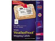 Avery 5526 White Weatherproof Laser Shipping Labels, 5-1/2 x 8-1/2, 100/Pack