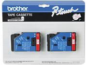 Brother TC-21 TC Tape Cartridges for P-Touch Labelers, 1/2w, Red on White, 2/Pack