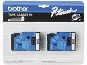 "Brother 9mm (3/8"") White on Black Laminated Tape (7.7m/25') (2/Pkg)"