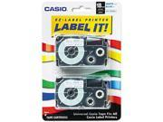 Casio XR18WEB2S Tape Cassettes for KL Label Makers, 18mm x 26ft, Blue on White, 2/Pack