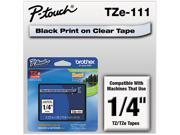 Brother TZE111TZe Standard Adhesive Laminated Labeling Tape, 1/4w, Black on Clear