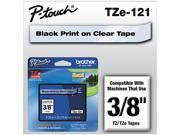 """Brother P-Touch TZ Series Tape Cartridge, 0.38""""w, Black on Clear"""