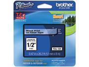 """Brother P-Touch TZ Series Tape Cartridge, 0.5""""w, Black on Clear"""