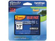 """Brother TZE1312PK P-Touch TZ Series Tape Cartridge, 0.5""""w, Black on Clear,2/Pack"""
