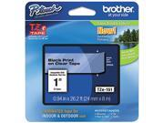 "Brother P-Touch TZ Series Lettering Tape, 1""w, Black on Clear"