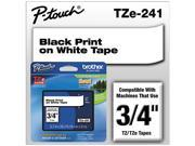 Brother P-Touch TZE241 TZe Standard Adhesive Laminated Labeling Tape, 3/4w, Black on White