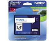 """Brother P-Touch TZ Series Lettering Tape , 0.75""""w, Blue on White"""