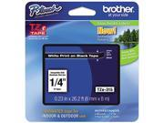 "Brother P-Touch TZ Series Tape Cartridge, 0.25""w, White on Black"