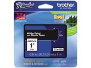 Brother TZE355 TZe Standard Adhesive Laminated Labeling Tape, 1w, White on Black