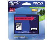 """Brother P-Touch TZ Series Lettering Tape, 3/8"""", Black on Red"""