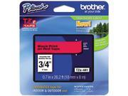 Brother TZE441 TZe Standard Adhesive Laminated Labeling Tape, 3/4w, Black on Red