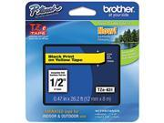 """Brother P-Touch TZ Series Tape Cartridge, 0.5"""", Black on Yellow"""