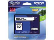 """Brother P-Touch TZ Series Tape Cartridge , 0.5""""w, Black on White"""