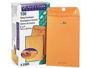 Quality Park 37855 Clasp Envelope, 6 x 9, 28lb, Light Brown, 100/Box
