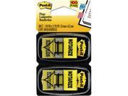 """Post-it Flags 680-NZ2 Arrow Message 1"""" Flags, """"Notarize,"""" Yellow, 2 50-Flag Dispensers/Pack"""