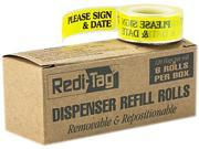 """Redi-Tag 91032 Message Arrow Flag Refills, """"Please Sign & Date"""", Yellow, 6 Rolls of 120 Flags"""