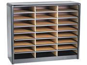 Safco 7111BL Steel/Fiberboard Literature Sorter, 24 Sections, 32 1/4 x 13 1/2 x 25 3/4, Black