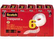 Scotch 600K6 Transparent Glossy Tape 3 4 x 1000 1 Core Clear 6 Box
