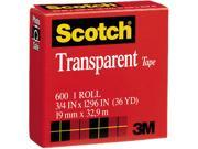 Scotch 600341296 Transparent Glossy Tape 3 4 x 1296 1 Core Clear
