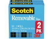 Scotch 811 2PK Removable Tape 811 2PK 3 4 x 1296 1 Core 2 Rolls