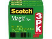 """Scotch 810H3 Magic Tape Refill, 1/2"""" x 1296"""", 3/Pack"""